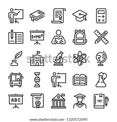 Education icons set. University symbols. Line style