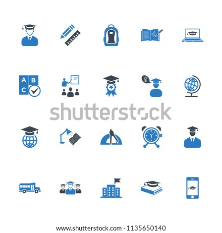 Education icons set vector blue
