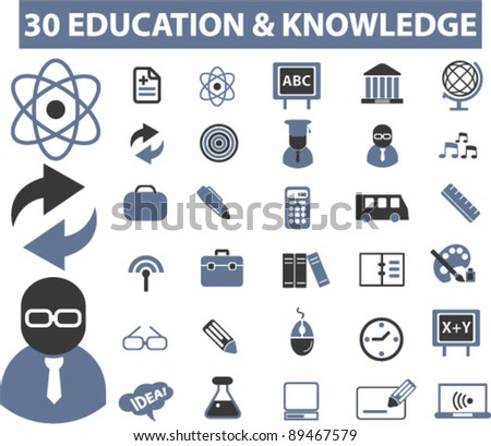 education icons set, vector illustrations