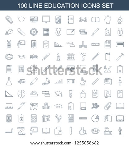 education icons. Trendy 100 education icons. Contain icons such as test tube, apple on book, backpack, test tube search, paper and apple, book. education icon for web and mobile.