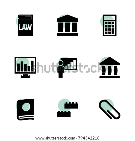 Education icons. vector collection filled education icons set.. includes symbols such as paper clip, calculator, chart on display, bank. use for web, mobile and ui design.