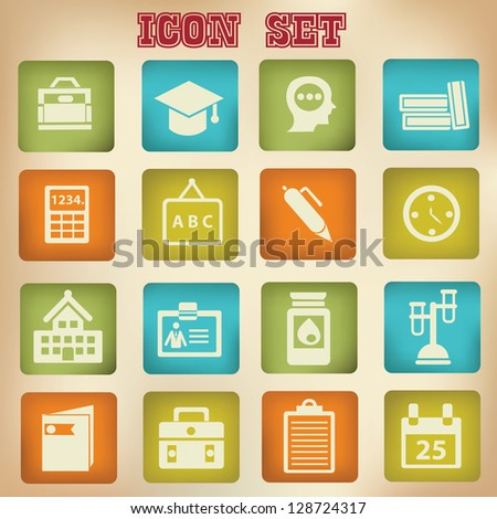 Education icons,vintage style,vector