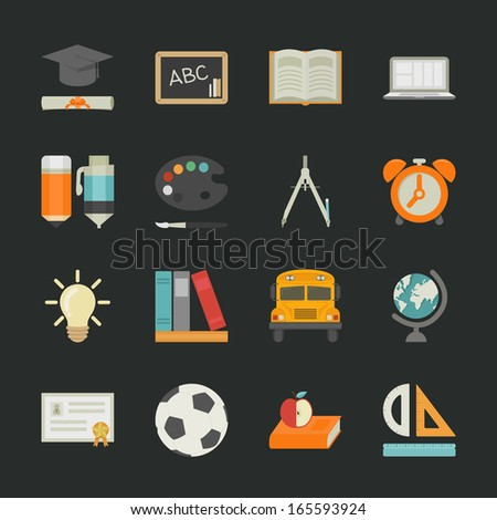Education icons with black background , eps10 vector format