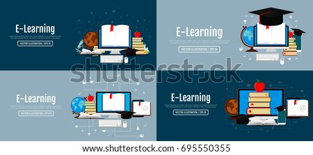 Education infographic concepts. Set of web banners. Books, globe, microscope, test tubes, academic cap. Vector illustration. Flat design. EPS 10.