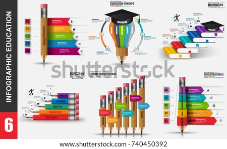 Education infographic elements data visualization vector design template. Educational concept with steps, processes, workflow, pencil, book, learning, school, knowledge, marketing icon, info graphics.