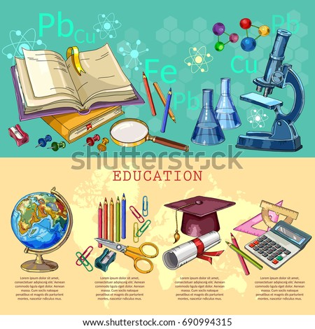 Education infographic. Modern education elements. Open book of knowledge. Symbol of science and education. Back to school infographic banner