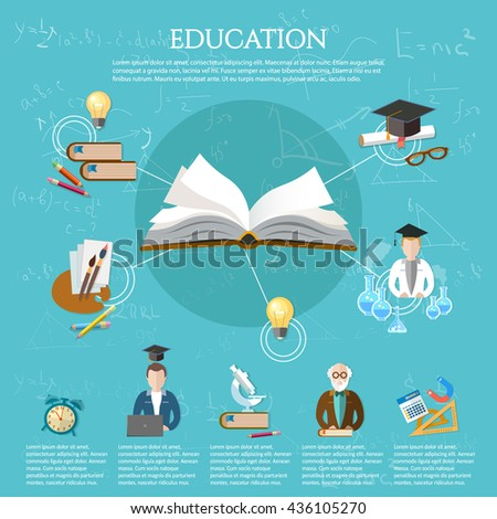Education infographic open book of knowledge professor and student learning elements of infographics education vector illustration