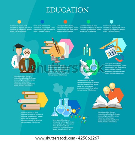 Education infographic open book of knowledge professor and student learning exams teacher school college university education vector illustration