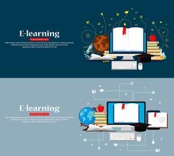 Education infographic. Set of web banners. Vector illustration. Flat modern design. EPS 10.
