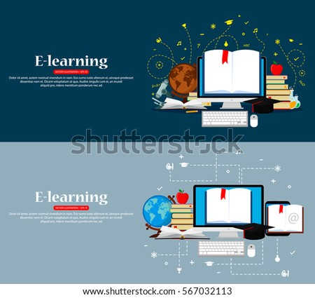 Education infographic. Set of web banners. Vector illustration. Flat modern design. EPS 10.