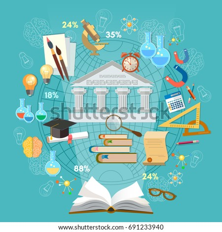 Education infographics concept vector. Open book of knowledge school background education infographics technology vector