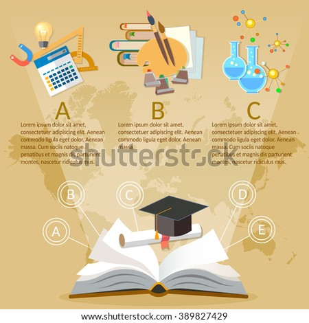 Education infographics open book of knowledge on world map background vector illustration