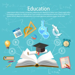 Education infographics open book of knowledge school background education infographics  technology