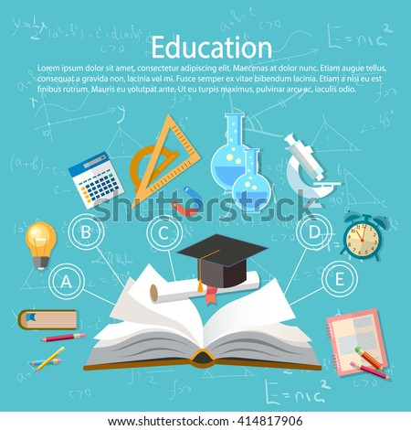 Shutterstock Education infographics open book of knowledge school background education infographics  technology