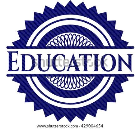 Education jean or denim emblem or badge background
