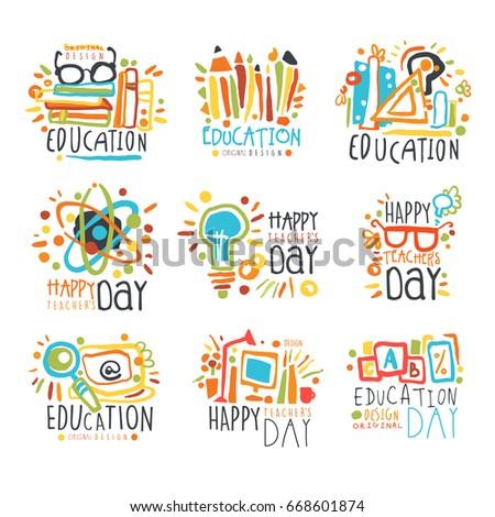 Education labels original design, set of logo graphic templates