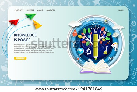 Education landing page design, website banner template. Vector illustration in paper art craft style. Open book, tree of knowledge, pencil, science symbols and school supplies. Online education.