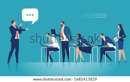 Education, learning  business illustration. The business team listens to the speaker.