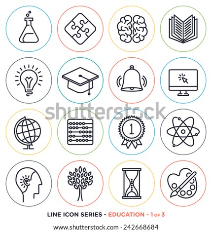 Education & learning line icons set.