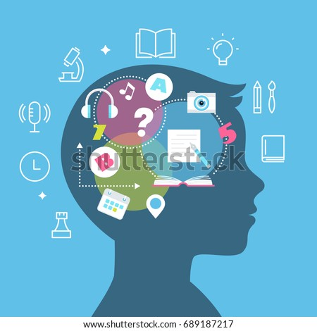 Education, Learning Styles, Memory and Learning Difficulties Concept Vector Illustration.