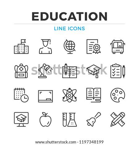 Education line icons set. Modern outline elements, graphic design concepts, simple symbols collection. Vector line icons