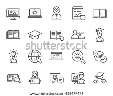 Education line icons. Set of Laptop, Book and Video Tutorial signs. Graduation cap, Instructions and Presentation. Internet Lectures, Charts and Idea symbols. Quality design elements. Editable stroke