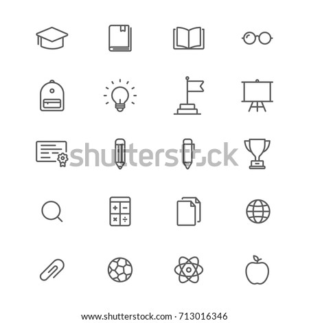 Education line icons set, Vector on white background