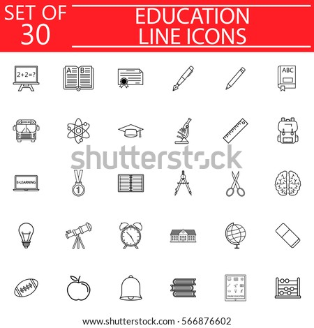 Education line pictograms package, School symbols collection, Web and mobile services vector sketches, logo illustrations, linear icon set isolated on white background, eps 10.