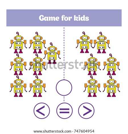Education logic game for preschool kids. Choose the correct answer. More, less or equal Vector illustration. Theme robots.