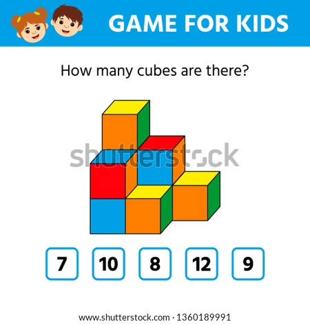 Education logic game for preschool kids. Kids activity sheet. Count the number of cubes. Children funny riddle entertainment. Vector illustration