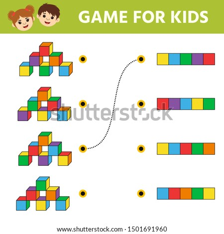 Education logic game for preschool kids. Kids activity sheet. What a top view does the tower of cubes have. Children funny riddle entertainment. Vector illustration