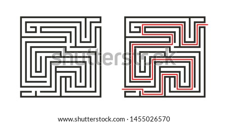 Education logic game labyrinth for kids. Find right way. Isolated simple square maze black line on white background.  With the solution. Vector illustration. Foto d'archivio ©