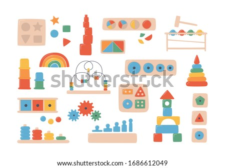 Education logic toys for Montessori games. Children wooden toys for preschool kids. Montessori system for early childhood development. Multicolored sorters. Set of vector objects on white background ストックフォト ©