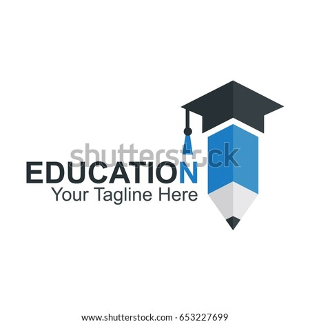 Education Logo Design With Pencil Icon and Graduation Hat.