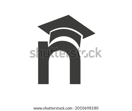Education logo with N letter hat concept. Graduation logo with N letter vector Foto stock ©
