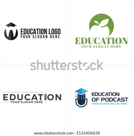 Education logo with tooth hat school apple pencil and microphone vector suitable for private school teacher podcast