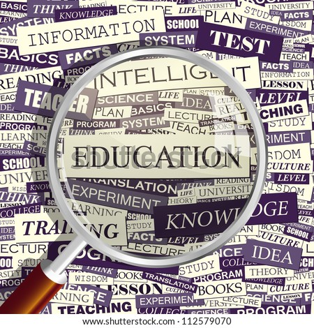 EDUCATION. Magnifying glass and seamless background. Vector pattern. Word cloud association concept.