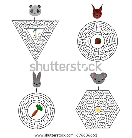 Education Maze or labyrinth game for children with rabbit and carrot,  squirrel and nut,  panda and cane, mouse and cheese, dog and bone, cat and ball of yarn. Vector illustration. EPS 10