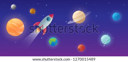 education of solar system on the space with the sun and planet mercury, venus, earth, mars, jupiter, saturn, uranus, neptune vector design illustration