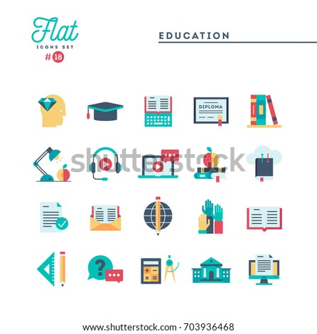Education, online books, distance learning, webinar and more, flat icons set, vector illustration