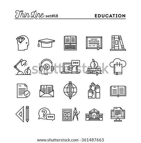 Education, online books, distance learning, webinar and more, thin line icons set, vector illustration