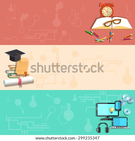 Education online learning school subjects student college university exams diploma books pencils laptop vector banners
