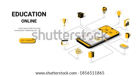 Education Online on mobile Application, Digital Library. Reading Book and studying in Online Library  with smartphone. Online Education for banner and mobile website. Back to school concept. vector