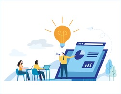 Education online training courses vector illustration.tutorials e-learning concept.distance internet studying banner.skill development.flat cartoon design for mobile and web