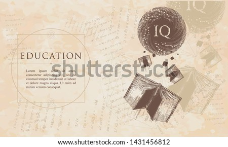Education. Open books fly to the world knowledge. IQ test concept. Symbol of literatures, poetry, reading. Renaissance background. Medieval manuscript, engraving art Foto stock ©