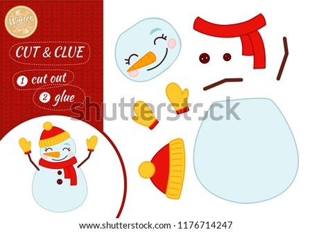 Education paper game for preshool children. Vector illustration. Cartoon snowman.