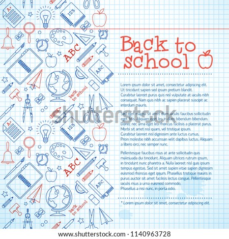 Education paper sheet background with colorful school supplies icons ink stains and text vector illustration