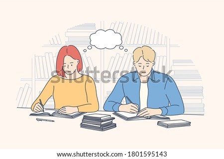 Education, preapration, learning, study concept. Young pensive man woman guy girl students cartoon characters sitting in public library and preparing for exams or tests and reading lierature books.