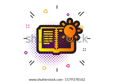 Education process sign. Halftone circles pattern. Product knowledge icon. Classic flat product knowledge icon. Vector