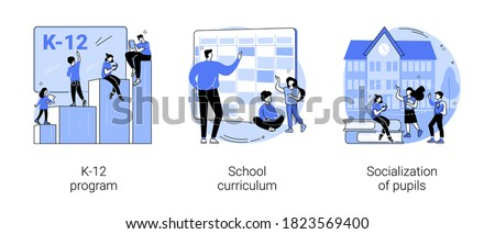 Education program abstract concept vector illustration set. K-12 program, school curriculum, pupils socialization, public school, learning calendar, academic course, play together abstract metaphor.